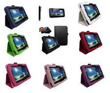 "Leather Smart Case Cover for Tesco HUDL 7"" Tablet with Screen Protector & Stylus"