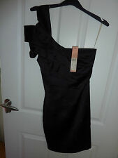 LIPSY Gorgeous Black One Shoulder Sculpture Dress Size 6 RRP £65 NWT