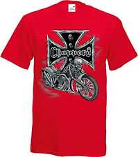 T Shirt im Rotton mit einem Biker-&Old Schooldruck Modell Choppers Skelett Bike