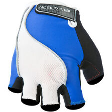 madison rouleur men's mitts fingerless / half finger cycling gloves blue / white