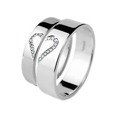White Gold Wedding rings His and Hers Diamond Set Bands Together As One Heart