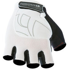madison peloton men's fingerless / half finger cycling mitts white