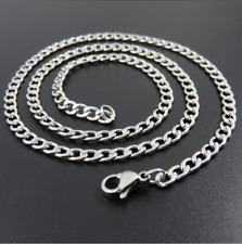 "NEW 16"" to 30"" Long Silver Plated Mens Curb Chain 4mm Wide Womens Necklace Gift"