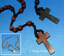WOODEN BEAD ROSARY NECKLACE CROSS CRUCIFIX CATHOLIC PRAYER JESUS BLACK OR BROWN