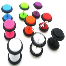 ACRYLIC FAKE EAR PLUG CHEATER TUNNEL TAPER STRETCHER EXPANDER EARRING STUD 8MM