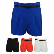 New Ladies Womens Summer Party Textured Mini Shorts With Belt Hot Pants 6-14