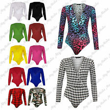 Ladies Womens Wrap Over Long Sleeve Plunge V Neck Stretch Bodysuit Leotard Top