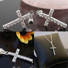 "Silver Plated Cubic Zirconia CZ Cross Women Men Pendant Necklace 16 to 24"" Chain"