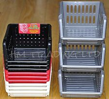 3Tier Plastic Vegetable Fruit Basket Stacking Kitchen Office Garage Storage Rack