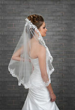 New 1 Tier Ivory White Wedding Lace Edge Bridal Elbow Veil With Comb 32""
