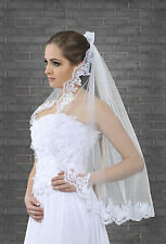 New 1 Tier White / Ivory Wedding Lace Edge Bridal Elbow Veil With Comb 32""