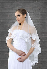 New Womens 2 Tier White Ivory Wedding Bridal Veil Lace Edge With Silver Thread