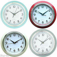 "Modern 9"" Quartz Wall Clock Blue Red Cream Grey Home Office Large Dial New"
