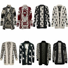 Ladies Women Aztec Print Knitted Long Sleeve Winter  Cardigan Jumper Top Size