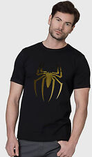 Tshirts ( Spiderman Best ) , Mens Gold Foil Printed Black Tee Shirts
