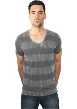 URBAN CLASSICS - Fantasy Stripe Burnout V-Neck Tee - T-Shirt - Herren - NEU