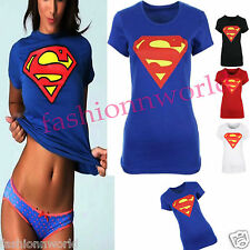 NEW WOMENS LADIES SHORT SLEEVE COMIC SUPER HERO SUPERMAN SEXY T SHIRT VEST TOPS