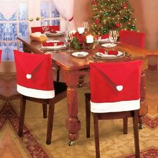 1/4/10 PCS SANTA HAT CHAIR COVERS - RED CHRISTMAS DINING CHAIR COVER- DECORATION