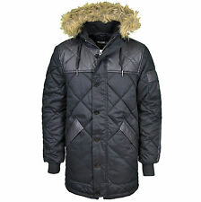 Voi Mens Designer Branded Hooded Padded Coat Winter Quilted Parka Jacket, BNWT