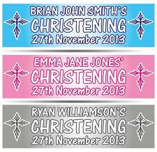 "2 x PERSONALISED CHRISTENING BANNER 36"" WIDE x 11"" TALL - BAPTISM HOLY COMMUNION"