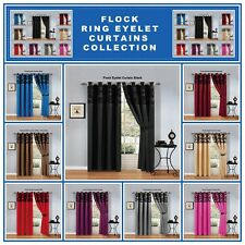 New Damask Curtains Pair Of Half Flock Eyelet Ring Fully Lined Window Curtains