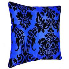 "White & Black Luxury Damask Flock Cushion Covers Or Filled Cushion 18""X 18"""