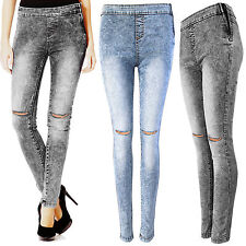NEW LADIES ACID WASH RIPPED KNEE SKINNY JEANS WOMEN HIGH WAISTED RIP CUT JEGGING