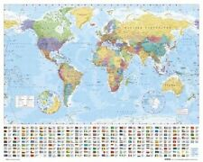 New World Map with Flags Map of the World Mini Poster