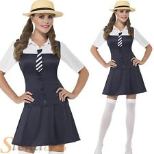 Ladies School Girl Costume St Trinians Schoolgirl Fancy Dress & Straw Boater Hat