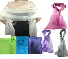 Scarf Shawl wrap chiffon ORGANZA METALLIC shimmer Wedding-bridal prom party