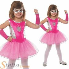 Girls Pink Spidergirl Superhero Book Week Fancy Dress Costume Spiderman Outfit