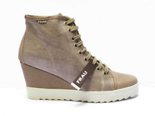 Frau shoes scarpa casual da donna stringata in pelle/tessuto - zeppa alt. cm. 7