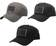 Subdued Grey American Flag Embroidered Iron On Patch Ball Cap -  3 Colors