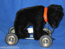 ❤ HERMANN Mohair ~Teddy Bear on Wheels Pull Toy~ 1980s NEW no box collectible ❤