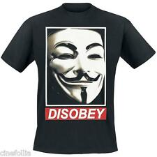 T-shirt V For Vendetta Disobey Guy Fawkes mask Uomo ufficiale Dc Comics