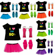 NEON TUTU SKIRT T SHIRT GLOVES LEGWARMER 1980S 80S FANCY DRESS COSTUME HEN PARTY