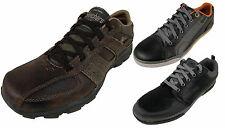 Mens Skechers Leather Sneakers Trainers Memory Foam Trainer Lace Up Shoes New