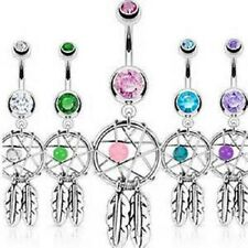 Belly Bar Ring with Double CZ Gems and Dream Catcher Dangle - 10mm Bar