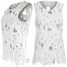 NEW LADIES CROCHET CUT OUT HOLE HEM SLEEVELESS TOP WOMENS FLORAL LACE VEST LOOK