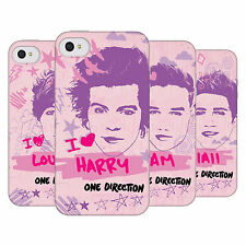 OFFICIAL ONE DIRECTION 1D  PINK GRAPHIC FACES SOFT GEL CASE FOR APPLE iPHONE 4S