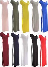 Womens Ladies summer Split Maxi Cap sleeve Long Double Split  maxi Size 8-14