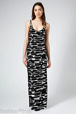 TOPSHOP Brushstroke Print Stretch Jersey Monochrome Maxi Dress UK 8 10 12 14 16
