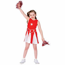Girls Red & White High School Cheerleader Halloween Fancy Dress Costume Outfit