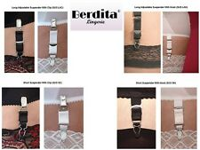 New Berdita Replacement Spare Suspender Clips or Hooks Black or White Adjustable
