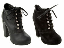 WOMENS BLACK LACE UP PLATFORM CHUNKY BLOCK HIGH HEEL ANKLE BOOTS LADIES SIZE 3-8