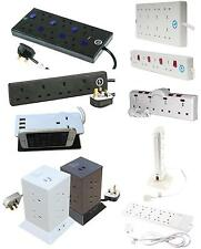 1,2,4,6,8,9,10 Way Gang Extension Trailing Leads Sockets USB Surge Protection