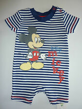 """DISNEY Really Cute """"Baby MICKEY"""" Mouse Navy Stripe Romper Suit NWT"""