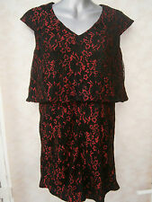 DOROTHY PERKINS MAYA DELUXE DOUBLE LAYER PLAYSUIT BLACK / RED LACE NEW (ref 439)