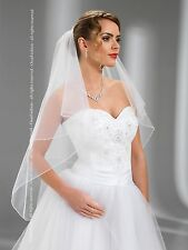 """New 2T White/Ivory Wedding Prom Bridal Fingertip Veil With Comb 40""""-Pencil Edge"""