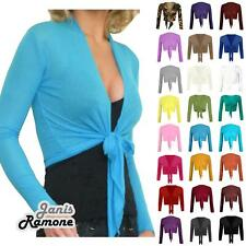 New Womens Plain Bolero Front Tie Shrug Ladies Cropped Long Sleeve Cardigan Top